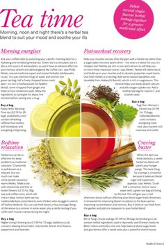 Morning, noon & night herbal tea blends to suit your mood & soothe your ills. Detox Drinks, Healthy Drinks, Healthy Recipes, English Tea Time, Tea Benefits, Health Benefits, My Cup Of Tea, Tea Blends, Eat Right