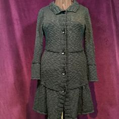 Fever Black button up tiered sweater The pictures look Grey but this sweater is BLACK. It's in like new condition and SUPER cute! It more tailored than an average sweater. Super cute with Jeans or over a dress. Fever Sweaters