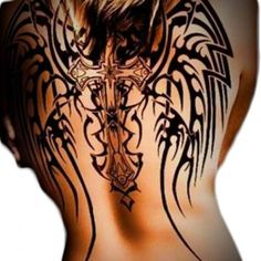 tribal cross with wings tattoo designs tribal angel wings and cross tattoo on back tattoos. Black Bedroom Furniture Sets. Home Design Ideas