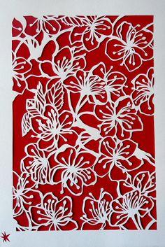 Blossom, Illustration paper cut handmade