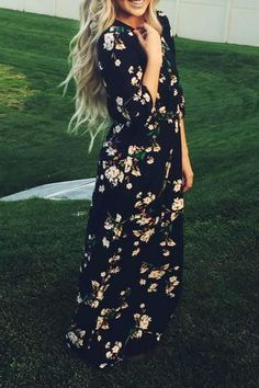 Floral Printed 3/4 Sleeve Dress BLACK: Maxi Dresses