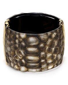 Alexis Bittar Crocodile-Textured Lucite Liquid Metal Hinge Cuff