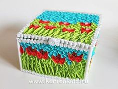 Quilled box of Spring Paper Quilling Tutorial, 3d Quilling, Quilling Paper Craft, Quilling Designs, Paper Crafts, New Crafts, Paper Art, 3 D, Goodies
