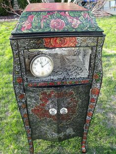 Vintage Old Victrola Cabinet. Hand Painted by NewWithAPast on Etsy, $549.00