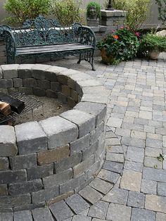 Fire pit with border