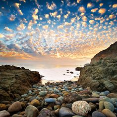 Alto Cumulus clouds at sunset, Point Mugu State Park, Malibu, CA Great Pictures, Cool Photos, Beautiful Pictures, Beautiful World, Beautiful Places, Beautiful Sunset, Landscape Photography, Nature Photography, Le Colorado