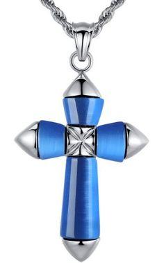 Arco Iris Jewelry – Joya hecha de acero inoxidable Colgante con cadena de 2.4mm de cuerda – detalle de tono azul – Talla