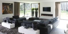 Living Room Designs, Living Room Decor, Arch Interior, Fireplace Design, Luxury Living, House Colors, Luxury Homes, Family Room, New Homes