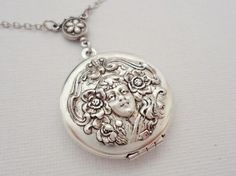 Victorian Lady Cameo locket necklace women  from Madame Butterfly by DaWanda.com