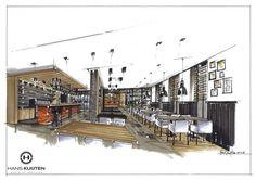cafe drawing interior sketch exterior rendering architecture restaurant food court perspective restaurants hans kuijten interieur croquis google nl architectuur decorating