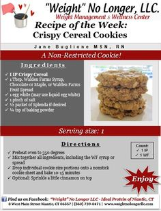 """Wednesday's Weekly Recipe: """"Crispy Cereal Cookies"""" #Unrestricted #Cookies #IdealProtein #FriendlyForAllPhases #Healthy #WeightLoss #Recipe"""