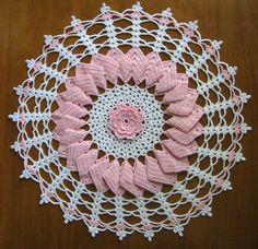 "Hand Crocheted Doily 12"" round Pink & White ripple New"
