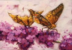 Butterfly Painting,  5x7 inch original oil painting. Paintings of butterflies, Butterfly artwork, Flowers