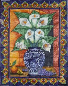 ceramic tile mural Grapes and Calla Lilies