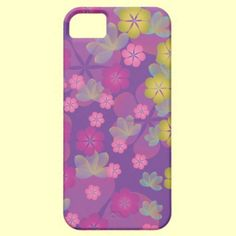 iPhone 5 case with with pretty floral motif design on purple background.