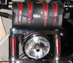 Custom Motorcycle Fork Wraps, Custom Motorcycle Accessories, Leather Fork Wraps, Hand-stitched