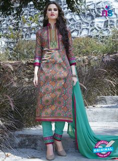 SC 12911 Multicolor and SeaGreen Printed Embroidered Glace Cotton Straight Suit