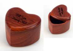 """Single Ring Heart Design  The heart shaped box is a great box to use for proposals!   You can pop the question and give her your """"heart"""".  There is a magnet in the corner to keep the lid on.  You can also use this box during the wedding ceremony  instead of a pillow.   Standard engraving of your names and date are included in the price. How about putting the message in YOUR own Handwriting!!    Model #SP3081-PA $30.00 Made in the USA"""