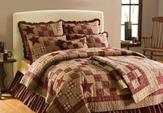 Country Primitive Star Patch Rustic Burgundy Tan 5 Piece Queen Quilt Set | eBay
