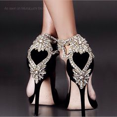 Incredible black shoes with embellished heels.