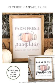 Make your own farmhouse style sign using this reverse canvas trick. video to sell Reverse Canvas Trick perfect for DIY decorating Autumn Art, Autumn Home, Fall Home Decor, Diy Home Decor, Fall Table Decor Diy, Fall Porch Decorations, Fall Apartment Decor, Fall Entryway Decor, Blue Fall Decor