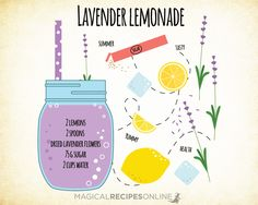 Healing Magic Potion: Lavender Lemonade (* Ancient Magical Recipes Online * Nature through Spells and Herbal Magic * Ancient and New Ideas) Wicca Recipes, Potions Recipes, Tea Recipes, Smoothie Recipes, Noodle Recipes, Kitchen Witchery, Herbal Magic, Tea Blends, Herbal Tea