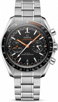 Omega Speedmaster Racing Co-Axial Master Chronometer Chronograph.On the matt black dial, there is a distinctive racing style minute-track which gives the watch its name. There are also two subdials with blackened applied rings as well as a 6 o'clock date window that blends with the colour of the dial. The hands are a mix of varnished orange and white, while the arrowhead indexes are 18K white gold with white Super-LumiNova.