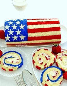 How to Make a Flag Roll Cake – SugaryWinzy Bake your flag on a luscious lemon roll cake to liven up any occasion, or just bake the cake plain with a dusting of powdered sugar to finish it off. 4th Of July Cake, 4th Of July Desserts, Fourth Of July Food, July 4th, Blue Desserts, Cupcakes, Cupcake Cakes, 4. Juli Party, Cake Recipes