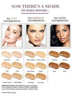 AVON - Foundation Shade Chart for individual  Skin Tones