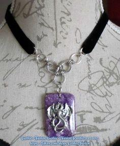 Amethyst Dragon Pendant Choker Necklace £14.95