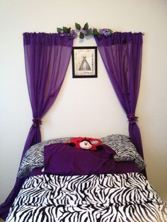 A curtain headboard using command hooks and a curtain rod. No screws necessary in a rental ; Girl Room, Girls Bedroom, Bedroom Decor, Bedroom Ideas, House Makeovers, Room Goals, Kids Decor, Home Decor, Home Staging