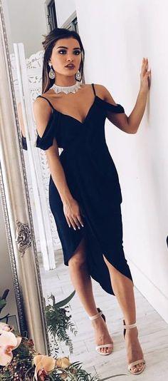 #fall #outfits women's black v-neck cold-shoulder dress