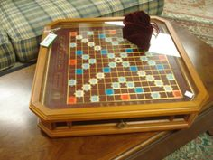 Scrabble coffee table. zomg.