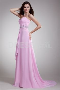 Pink Ruffles Sleeveless Chiffon Formal Evening Dress