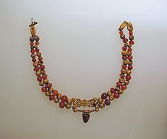 1000BC Cypriot Necklace Medium: Gold, sard, carnelian, silver