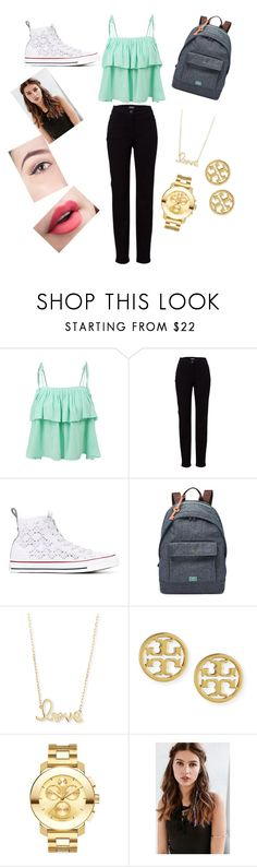 """""""Look of the Day"""" by eldrianmcdonnell ❤ liked on Polyvore featuring LE3NO, Basler, Converse, FOSSIL, Sydney Evan, Tory Burch, Movado and REGALROSE"""
