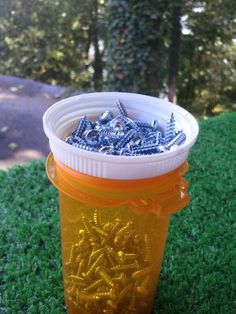 Best idea ever for storing screws/nails during a project. Old prescription bottle with the majority of the screws in it. Childproof cap upside down gives you a place to hold a few and keeps the ones in the bottle from getting strewn everywhere if you knock it over. Easy to carry, easy to use! And, you already have the bottle, so it's free!!!!
