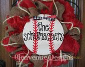 Personalized Baseball Mesh Wreath