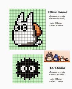 Totoro hama perler beads pattern - makes a good cross stitch pattern too Hama Beads Design, Hama Beads Patterns, Beading Patterns, Beaded Cross Stitch, Cross Stitch Embroidery, Cross Stitch Patterns, Pixel Art Totoro, Perler Bead Art, Perler Beads