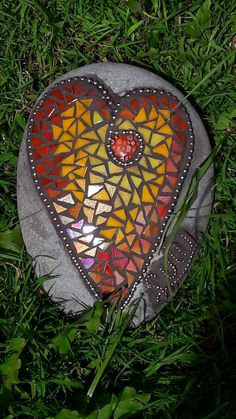 Mosaic and stained glass memorial stone