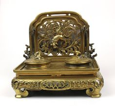 Antique Chinese China Solid Bronze Inkwell Double Stand Dragon Letter Holder | eBay