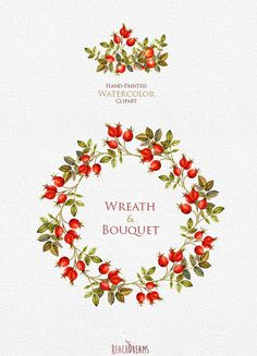 Watercolor Wreaths Bouquets Autumn clipart fall от ReachDreams: