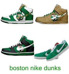 pretty nice dc1eb 86919 Boston Celtics Nike Dunk SB High Tops And Low Shoes Boston Celtics,  Jordans, Adidas