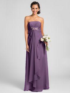 Floor-length Chiffon Bridesmaid Dress - Candy Pink / Royal Blue / Ruby / Champagne / Grape Plus Sizes / Petite Sheath/Column Strapless - USD $66.49