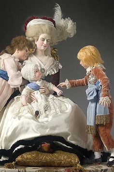 Portrait length color image of Marie Antoinette (children), by George Stuart.Museum of Ventura County Marie Antoinette Children, Wax Museum, Royal Crowns, French History, 18th Century Fashion, Madame Tussauds, French Revolution, Wedding Hats, Doll Maker