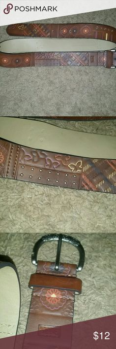 Relic leather belt Measures 43 in long, inch and half thick. Cute butterfly design, rounded studs, very boho hippie look and colors. Relic Accessories Belts
