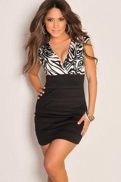 Bachelorette Party - Chic Plunge Zebra Print Bandage Skirt Cute Dress