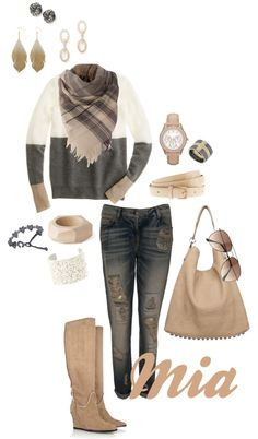 Crafted jeans, J.Crew cashmere sweater, Alexander Wang bag, Lanvin shearling boots, House of Fraser scarf, Fossil watch, TopShop ring, H & M sunglasses & your choice of bracelets and earrings
