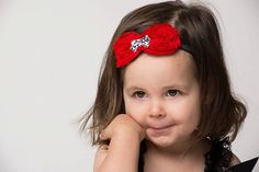 Bow Headband- Red Chiffon Damask Bow with Swarovski Crystal Center Embellishment Black Satin Little Girl Headband- Baby Headband  by KaticesBowtique, $9.00