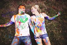 I was actually supposed to feature just Carly and Jeff's delightful wedding but when I saw the creative, colorful, and crazy-in-a-fantastic-way paint fight engagement e-session they had in the outskirts of Brisbane, well I couldn't resist sharing it with you too. I mean, just by looking at this photo, can't you tell how much fun the lovely pair had
